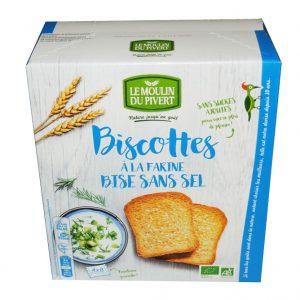 Biscottes à la farine de Bise sans sel Bio du Moulin du Pivert