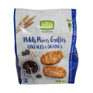 Petits pains grillés Bio aux céréales et aux graines du Moulin du Pivert